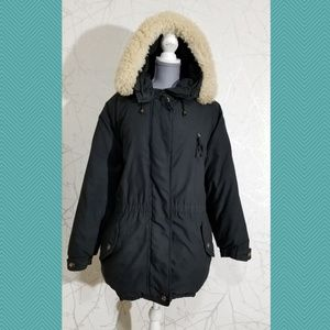 Eddie Bauer Black Goose Down Filled Full Zip Coat